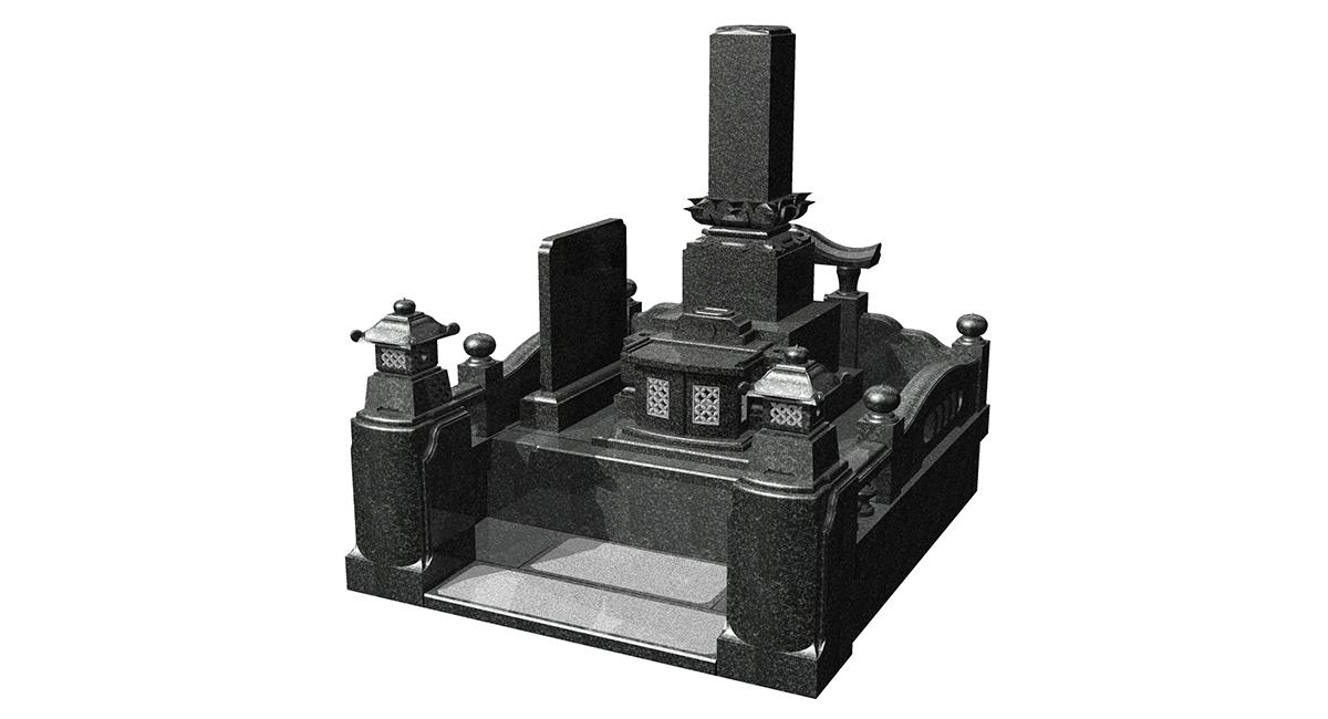和型「うるおい」型耐震+外柵「神威」型灯籠・墓誌付