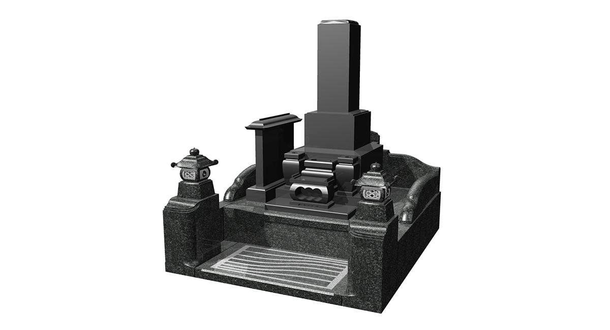 和型「KNAY-12KG」型+外柵「かむろ」笠付墓誌付
